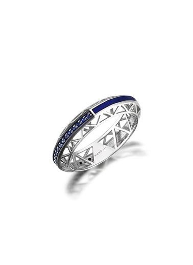 Piano Jewellery Safir Mine Yüzük 14 Ayar Gümüş